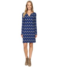 Hatley Long Sleeve Notch Neck Dress Mini Arrows Women's Dress Blue