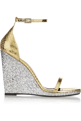 Saint Laurent Jane Glitter Trimmed Metallic Elaphe Wedge Sandals