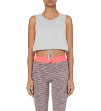 Sweaty Betty Count Knitted Cropped Top Light Grey Marl