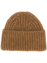 Closed Ribbed Beanie Hat Brown