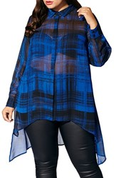 Mblm By Tess Holliday Plus Size Women's Plaid Chiffon Blouse