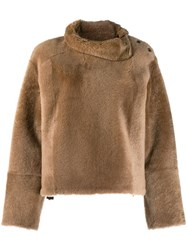 Yves Salomon Fur Jumper Neutrals