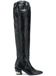 Toga Pulla Pointed Knee Length Boots Black