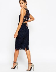 Asos Premium Lace Midi Pencil Dress With Contrast Seams Navy