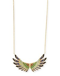 Lalique 18K Gold Multi Stone Wing Pendant Necklace