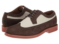 Polo Ralph Lauren Torrington Wingtip Dark Brown Classic Stone Tumbled Nubuck Cavalry Twill Men's Lace Up Wing Tip Shoes