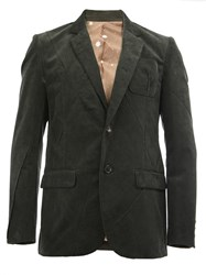 Undercover Notched Lapel Ribbed Blazer Green