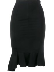 Givenchy Ruffle Hem Pencil Skirt Black