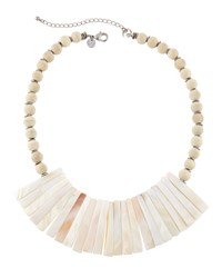 Lydell Nyc Mother Of Pearl And Wood Bead Bib Necklace Women's
