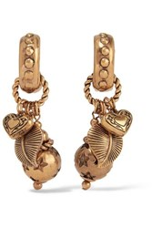 Etro Gold Tone Clip Earrings One Size