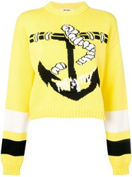 Msgm Anchor Print Sweater Yellow
