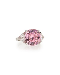 Fantasia Cushion Cut Pink Cz Solitaire Cocktail Ring 7