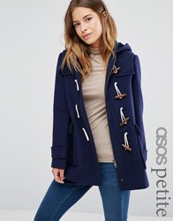 Asos Petite Wool Blend Duffle Coat With Checked Liner Navy