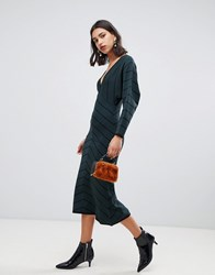 Warehouse Knitted Dress With Blouson Sleeve In Green Green Black Multi