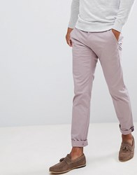 Ted Baker Smart Slim Chinos In Peached Cotton Light Pink