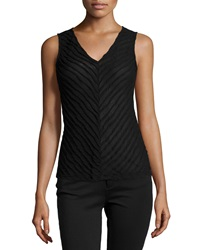 Paperwhite Sleeveless Ribbed Knit Tank Black