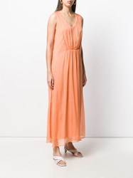 120 Lino Long Sleeveless Ruched Dress Orange