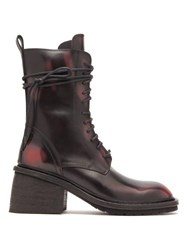 Ann Demeulemeester Block Heel Distressed Leather Boots Black Red