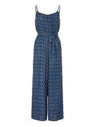Yumi Tile Print Jumpsuit Navy