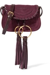 See By Chloe Polly Leather Trimmed Tasseled Suede Shoulder Bag Plum