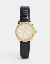 Guess Micro G Twist Leather Watch In Black