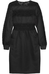 Mikael Aghal Sequined Guipure Lace Paneled Twill Dress Black