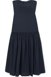 Veronica Beard Fiore Strapless Linen Blend Midi Dress Navy