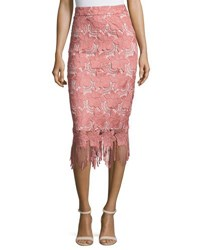 Alice Olivia Floral Guipure Lace Pencil Skirt Pink White Multi
