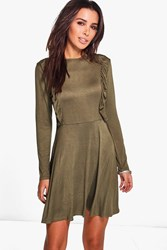 Boohoo Ruffle Long Sleeve Skater Dress Moss