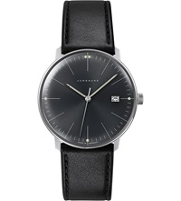 Junghans 041 4465.00 Max Bill Stainless Steel And Leather Quartz Watch Black