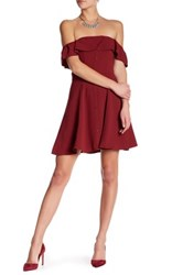 Lovers Friends Off The Shoulder Front Button Dress Red