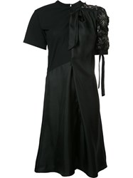 Maison Martin Margiela Embroidered Satin Dress Black