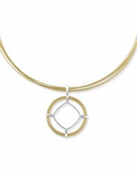 Alor Spring Coil Cable And Diamond Pendant Necklace 18Kt Wg