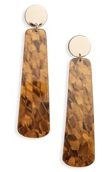 Leith Linear Statement Earrings Black Gold