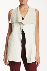 My Tribe Drape Collar Genuine Leather Vest White