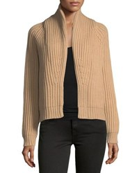 Vince Cropped Cable Knit Cardigan Medium Brown