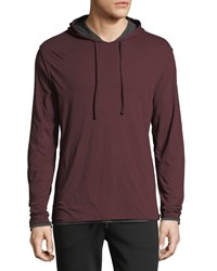 Vince Double Layer Pullover Hoodie Black Cherry H Ca