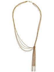 Wouters And Hendrix Gold 'Knot' Tassle Necklace Metallic