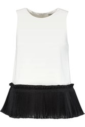 Opening Ceremony Stone Plisse Trimmed Crepe Top White