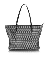 Lancaster Paris Ikon Printed Coated Canvas And Leather Tote Black