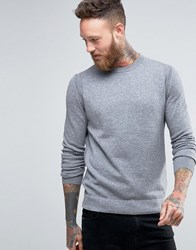 Boss Orange Albinon Crew Jumper Merino Blend Knit Grey
