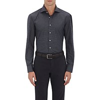 Cifonelli Men's Graph Checked Fitted Poplin Shirt Blue