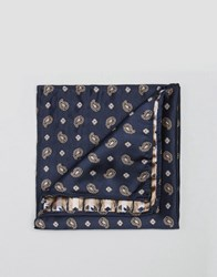 Reclaimed Vintage Paisley Pocket Square In Navy Navy