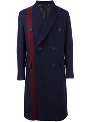 Paul Smith Single Stripe Double Breasted Coat Blue
