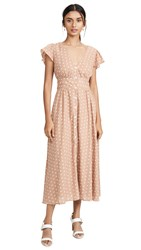 The Jetset Diaries High Hopes Midi Dress Dusty Rose White Dot