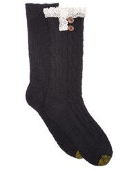 Gold Toe Women's 2 Pk. Cable Buttons Crew Socks Black Lace Solid Black