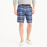 J.Crew 10.5' Club Short In Indigo Plaid Irish Linen