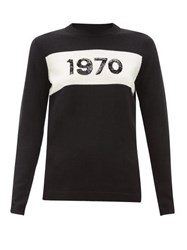Bella Freud 1970 Sequinned Wool Sweater Black White