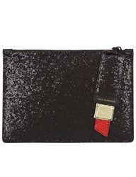 Lulu Guinness Black Glitter Lipstick Grace Clutch Red