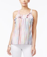 Thalia Sodi Striped Cutaway Back Tank Top Only At Macy's Bright White Combo